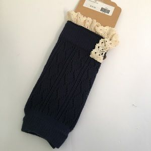 Accessories - NWT Navy Blue Boot Cuff with Cream color Lace
